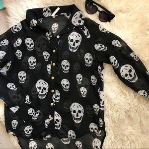 Tops - Black sheer skull top